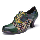SOCOFY Vintage Leather Floral Plaid Splicing Lace-up Green Chunky Heel Pumps
