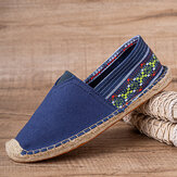 SOCOFY Ethnic Splicing Colorful Striped Linen Comfy Breathable Slip On Casual Espadrille Flat Shoes