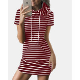 Striped Drawstring Short Sleeve Casual Shirt Pocket Dress