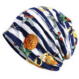Vintage Womens Cotton Stripe Print Dual-Use Beanie Hat