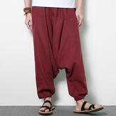 पुरुषों के कपास लिनन हरेम पैंट आरामदायक बागी लूज पतलून