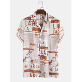 Mens Designer Newspaper Print Revere Collar Casual Short Sleeve Shirts