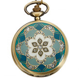 DEFFRUN Vintage Bronze Flower Pattern Kuarsa Pocket Watch