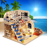 DIY luz LED Coastal Villa Doll House Miniaturas Muebles Kit de regalo