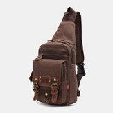Mannen echt leer en canvas reistas buiten draagtas persoonlijke crossbody tas borsttas