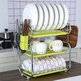 Escurridor de platos de almacenamiento de cocina de 3 niveles Escurridor de cubiertos Soporte de secado Bandeja de escurridor