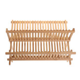 21 Grid Double Layers Drain Rack Solid Wood Dish Drainer Cutlery Storage Holder Rack Drip Tray Kitchen Tool