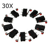 30Pcs KW12-3 Micro Limit Switch With Roller Lever 5A 125V Open/Close Switch