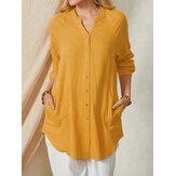 Manga larga Cuello alto Botón Liso Diario Casual Mujer Camisas con bolsillo