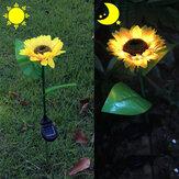 2ピースひまわり屋外ソーラーパワーLEDフラワーライト防水菊花杭ランプホームガーデンヤード芝生パス装飾
