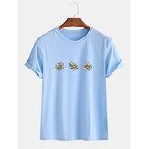 Gevşek Papatya Çiçekler Yuvarlak Boyun Kısa Kollu Rahat T-Shirt Erkekler Için Kadın