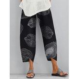 Casual Loose Elastic Waist Print Side Pocket Pants For Women