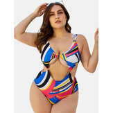 Женщины Coor Block Multicolor Printing Cut Out Wide Straps Wireless Купальный костюм One шт.