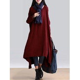 Casual Loose Solid Color Long Sleeve Asymmetric Women Dress