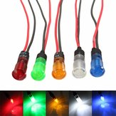 12V 8mm LED Dash Panel Indicator Light Lamp Red Blue Amber Green White with Wire
