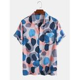 Mens Multi-Color Irregular Polka Dot Camouflage Printed Casual Short Sleeve Shirts