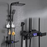 Juego de ducha digital termostático Grifo Cuarto de baño Sistema de ducha Grifo de ducha de oro negro Cabezal de ducha cuadrado Sistema de ducha de baño