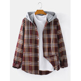 Mens Tartan Button Up Long Sleeve Curved Hem Loose Fit Drawstring Hooded Jacket