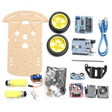 2WD Avoidance Tracking Smart Robot Chassis Car Kit With Speed Encoder Ultrasonic For  UNO R3