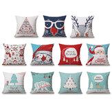 Capa de almofada de linho de Natal 45 * 45 Fronha Almofadas de sofá Travesseiro Caso Decoração de casa Presente festivo