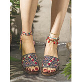 LOSTISY Women Embroidery Decoration Knitted Casual Sandals