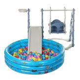 裏庭の遊び場スライド用の3in1スイングセット楽しいプレイセットボールプール付き屋外スイングスライドおもちゃ2-4歳の幼児の子供のためのギフト