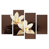 4Pcs White Orchids Flower Canvas Painting Wall Decorative Print Art Pictures Frameless Wall Hanging Decorations for Home Office