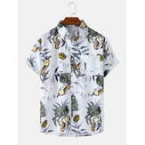 Mens Insect Print Short Sleeve Lapel Collar Casual Shirts