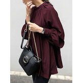 Women Solid Color Mandarin Collar Puff Sleeve Button Up Casual Blouse