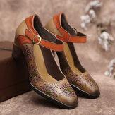 Sapatilhas de salto alto com fivela de fivela de couro floral oco SOCOFY