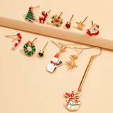 12 Pcs Christmas Earrings Set Christmas Tree Snowflake Santa Claus Elk Earrings Gift
