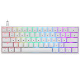 Geek GK61 61 Keys Mechanical Gaming Keyboard Hot Swappable Gateron Optical Switch RGB Type-C Programmable 60% Layout Gaming Keyboard
