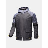 Mens Contrast Patchwork Zip Front Waterproof Drawstring Cuff Hooded Outdoors Jackets