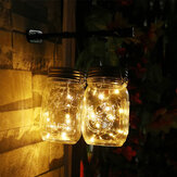 20 LED Solar Mason Jar Lid Lights String Fairy Star Firefly Jar Lids Lights