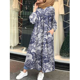 Vintage Floral Print Cotton Kaftan Tunic Muslim Maxi Dress with Side Pockets