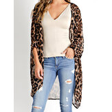 Women Long Sleeve Leopard Print Loose Cardigans