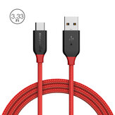 BlitzWolf® Ampcore BW-TC5 3A USB Typ-C Geflochtenes Ladekabel 3.33ft / 1m Mit Magic Tape Streifen