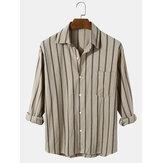 Chemises à manches longues boutonnées en coton à rayures verticales pour hommes avec poche