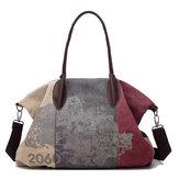 Vintage Stor Kapacitet Kvinder Lærred Casual Hobos Taske Ladies Crossbody Tasker Ruched Solid Handbag