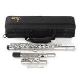 Flauta de concierto chapada en níquel con 16 agujeros clave C Cuproníquel con Caso Destornillador Set