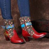 SOCOFY Retro Flower Pattern Stitching Genuine Leather Metal Buckle Zipper High Heel Mid Calf Boots