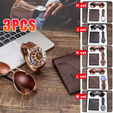 3PCS Men's Fashion Gift Set Business Style Quartz Watch+Wallet +Sunglasses Set