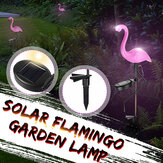 Solar Powered Pink Flamingo LED Lawn Light Outdoor Garden Stake Landscape Lamp