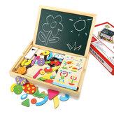 木製の磁気両面のボードは子供の早期教育のおもちゃをブロックします