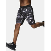 Mens Camo Patchwork Light Casual Drawstring Waist Sport Shorts