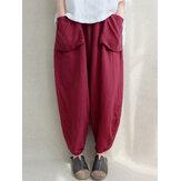 Kadın Yüksek Elastik Bel Cepleri Düz Renk Pantolon