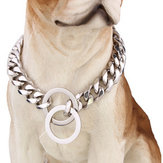 Silver Cuban Curb Link Stal nierdzewna Dog Chain Pet Training Collar Choker Dog Traction Rope