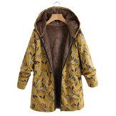 Plus Tamaño Mujer Abrigos con capucha de manga larga con estampado floral