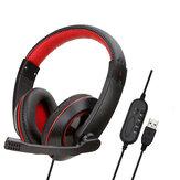 Soyto SY722MV USB Auriculares con cable para juegos Bass Gaming Headphone Stereo Auriculares Auricular con Micrófono para computadora PC Gamer