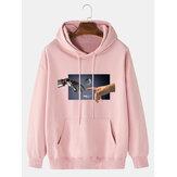 Hombre 100% algodón Diseño Sudaderas con capucha con hombros caídos y estampado de gestos con bolsillo canguro